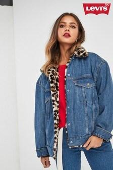 Levi's® Mid Wash Faux Fur Leopard Trucker Jacket