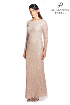 Adrianna Papell Silver Beaded Long Dress