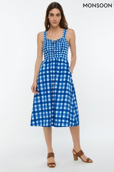 Monsoon Ladies Blue Juliette Check Print Midi Dress