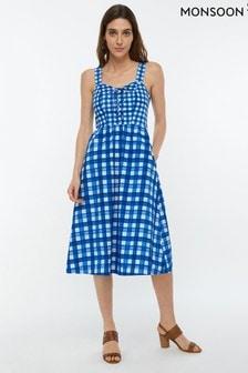Monsoon Ladies Blue Juliette Check Print Midi Dress