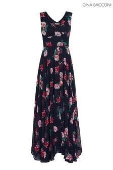 Gina Bacconi Black Edana Floral Chiffon Maxi Dress