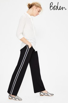 Boden Black Wells Wide Leg Ponte Trouser
