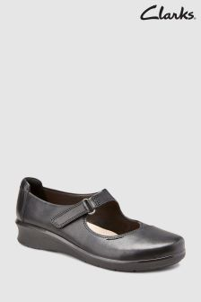 Clarks Black Leather Hope Henley Comfort Mary Jane
