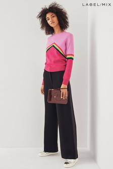 Next/Mix Wide Leg Tux Belted Trouser