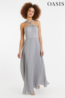 4bfa3a4f554 Oasis Grey Twist Neck Pleat Maxi Dress
