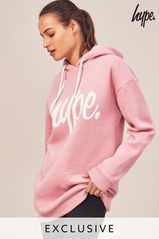Hype. Pink Long Line Hoody