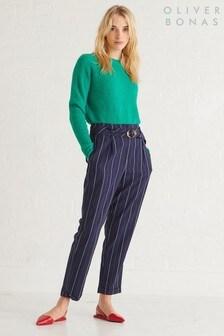 Oliver Bonas Blue Stripe Tie Front Trouser