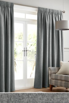 Bouclé Pencil Pleat Lined Curtains