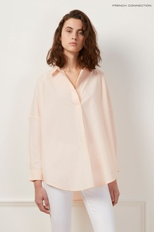 French Connection Pink Rhodes Poplin Popover Shirt