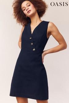 שמלה כחולה מכופתרת של Oasis