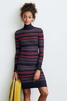 Rib Roll Neck Dress