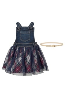 Baby Girls Navy Denim & Tartan Dungaree Dress