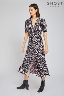 Ghost London Pink Flo Tiger Print Crepe Dress