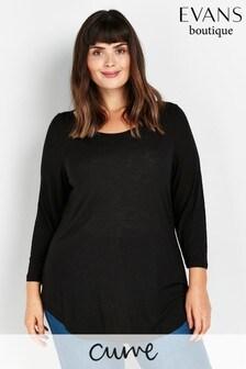 Evans Curve Black 3/4 Sleeve T-Shirt