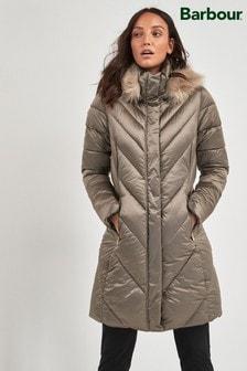 Barbour® Tartan Mink Luxe Reesdale Quilted Coat