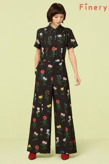 Finery London Black Alida Print Jumpsuit