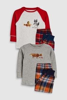 Набор текстильных пижамных комплектов с рисунком животных (2 компл.) (9 мес. - 8 лет)