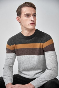 Cashmere Colourblock Crew Neck Jumper