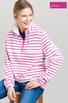 Joules Pink Bewley Striped Casual Half Zip Sweat