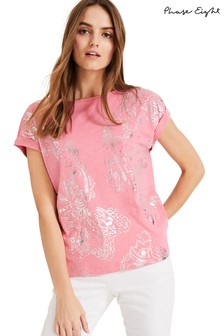 Phase Eight Pink Brigita Foil Top