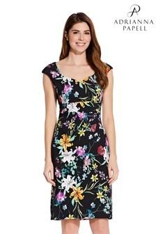 Adrianna Papell Black Printed Sweetheart Side Drape Dress