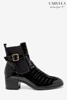Carvela Comfort Black Croc Rasp Heeled Chelsea Boots