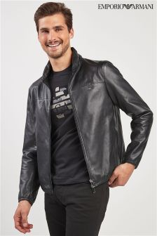 Emporio Armani Black Hooded Leather Jacket