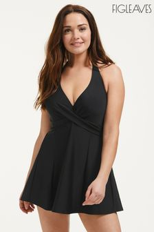 Figleaves Black Rene Underwired Halter Swim Dress