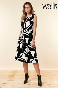 Wallis Black Petite Print Dress