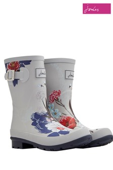 Joules Silver Molly Mid Height Printed Welly