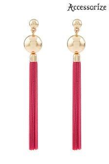 Accessorize Coloured Chain Tassel Earrings