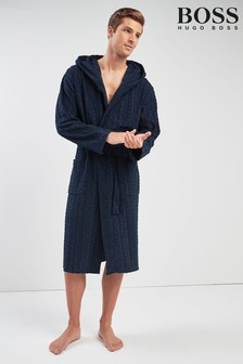 BOSS Navy Logo Terry Robe