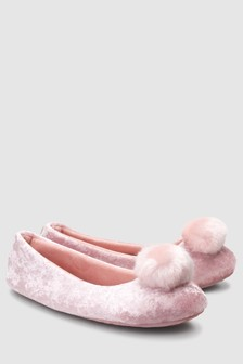 Velvet Pom Pom Ballerina Slippers