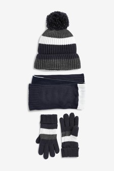 Stripe Knitted Hat/Scarf/Gloves Set (Older)
