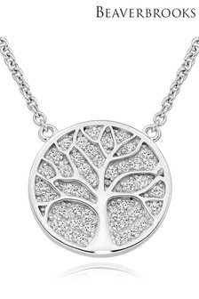 Beaverbrooks Silver Cubic Zirconia Tree Disc Necklace