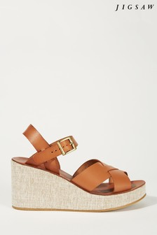Jigsaw Tan Lara Leather Wedge Sandal