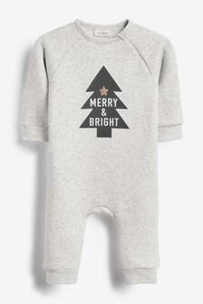 Christmas Slogan Cosy Jersey Romper (0mths-2yrs)