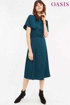 Oasis Green Angel Sleeve Midi Dress