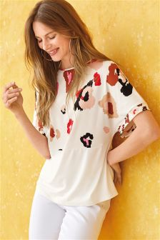 Abstract Animal Short Sleeve Top