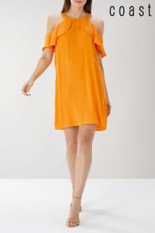 Coast Orange Claire Cold Shoulder Dress