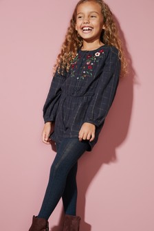 Check Embroidered Playsuit (3-16yrs)
