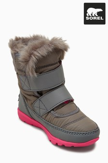 Sorel® Grey/Pink Short Velcro Strap Boot