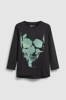 Raised Print Skull T-Shirt (3-16yrs)