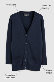 Longer Length V-Neck Cardigan (3-16yrs)