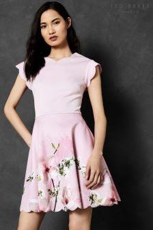 Ted Baker Grettae Pink Floral V-Neck Skater Dress