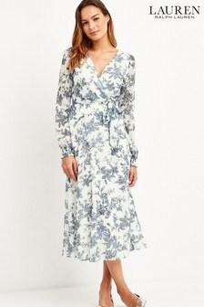 Lauren Ralph Lauren® Cream/Blue Floral Holeden Midi Dress