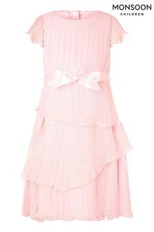 Monsoon Pink Acasia Tiered Hi Low Dress