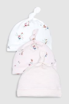 Delicate Floral Tie Top Hats Three Pack (0-18mths)
