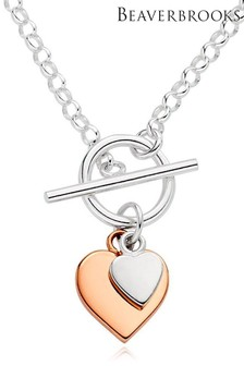Beaverbrooks Silver And Rose Gold Plated Heart T-Bar Necklace