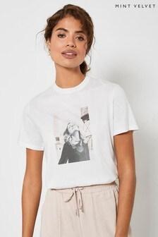 Mint Velvet Off-White Photo Print T-Shirt